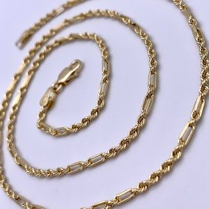 """14kt Yellow Gold Etched Cut Fancy Rope Chain 16"""""""
